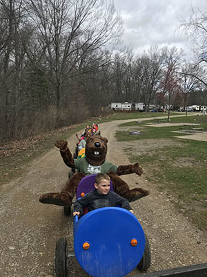 timber express train at gateway park campground in mi