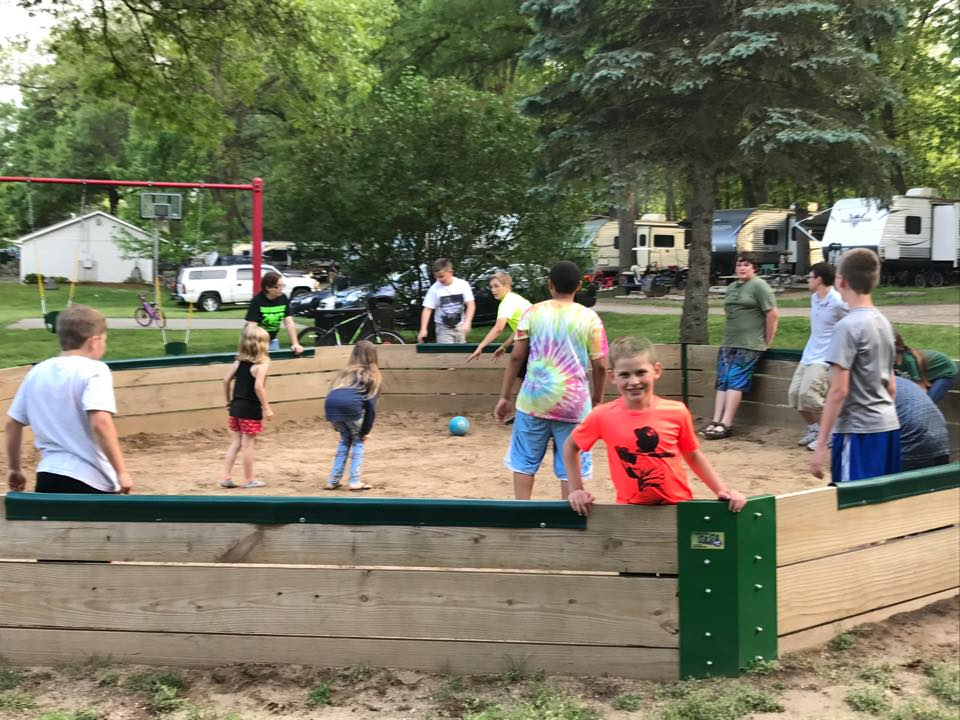 kids playing gagaball at gateway park campground in hillsdale mi